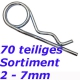 70 tlg. Sortiment Federstecker doppelt 2-7mm Federvorstecker Fed